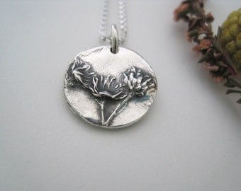 Small Round Silver Wildflower Necklace
