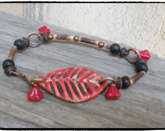 Red Leaf Bracelet  Pottery Beaded