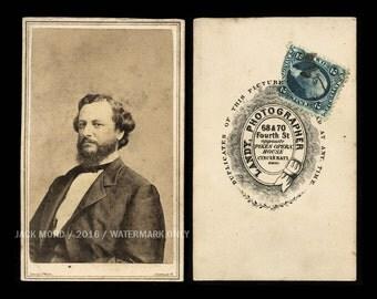 RARE Political CDV George H. Pendelton 1864 VP Candidate + Civil War Tax Stamp!