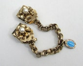 Sweater Guard Clip with Mary Medal charm - 1950s sweater clips - gold tone, faux pearl