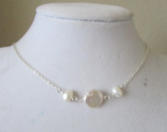 Floating White Coin Fresh Water Pearl Necklace, Coin Pearl Necklace