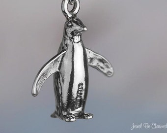 Sterling Silver Penguin Charm Arctic Winter 3D Penguins Solid .925