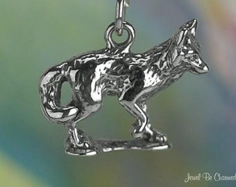 Fox Charm Sterling Silver Foxes Foxy Clever Wild Animal 3D Solid .925