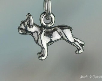 Miniature Sterling Silver Boston Terrier or French Bulldog Charm .925
