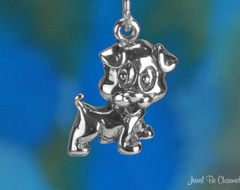 Happy Puppy Charm Sterling Silver Cute Jack Russell Terrier Dog .925