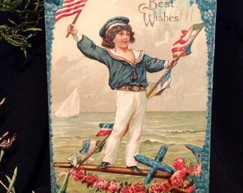 Victorian Patriotic Postcard - American Flag - Sailor Boy - Americana - Boat - Pink Roses - Ocean - 4th of July
