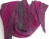 Hand Knit Shawl, Asymmetrical Scarf, Feminine Wrap,  Silk Merino Scarf in Gray Fuchsia, Boomerang Scarf