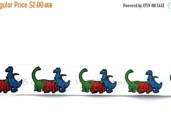 "ON SALE 7/8"" Dinosaur Grosgrain Ribbon - 5 yards - Copyright design - Pacifier Clip Ribbon for Boys - Hair Bow Ribbon - Decorative Ribbon"