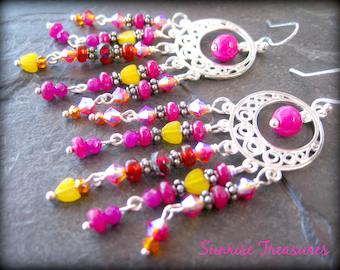 Pink/Red/Yellow Bohemian Chandelier Earrings, Crystal and Gemstone Earrings, Gypsy Statement Earrings, Colorful Earrings, Boho Jewelry