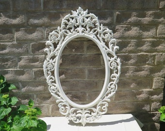 Scrolly Ornate Romantic French Country Picture Frame - Upcycled 12 by 20 White