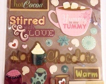K & C LLO  -- Hot Chocolate --  NEW --  dimensional stickers  (#1891)  Winter