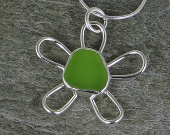Lime Green Sea Glass Flower Bezel Pendant Necklace