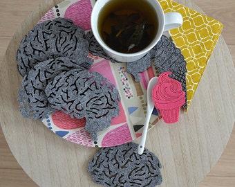 Felt coasters, felt coasters brain shape, six elements