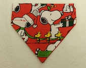 Snoopy Has Come to Town! Peanuts Santa Christmas Holida Red Bandana. Made for a Ferret, Dog and Cat. Reversible 2 in 1 Over the Collar.