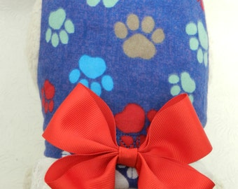 Puppy Paw Print Frenzy Blue and Red with Bow/Lace Harness. Perfect Item for your Cat, Dog or Ferret. All Items Are Custom Made For Your Pet.
