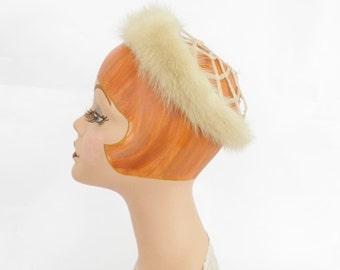 Vintage mink fur hat, 1960s white crown