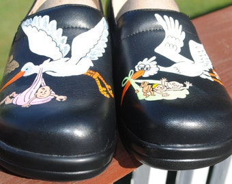 New Custom Hand Painted OB Dr. or L&D Nurses Alegria shoes customer supplied shoes ...sorry SOLD