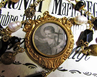 Madonna Enchanted necklace framed baby Jesus antique black glass mourning filigree real pearls Catholic religious brass jewelry assemblage