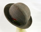 Vintage Tweed Hat with Feathers, Medium Size