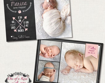 Digital Photo Birth Announcement Template for Photographers, 7x5 Card with Chalkboard Design, PSD Template, Instant Download