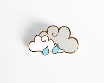 Rain Cloud Enamel Pin - Sleepy Mountain Gold Pin