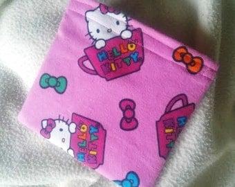 "Reusable Sandwich Bag, Reusable Snack Bag, Grab Bag, Party Favor, Change Purse, Teacher Gift, ""Hello Kitty with a Bow!!"""