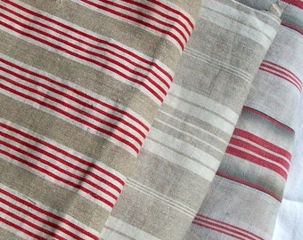 Bundle of Vintage French 1930's Mixed Stripe red Ecru Ticking Fabric Pieces