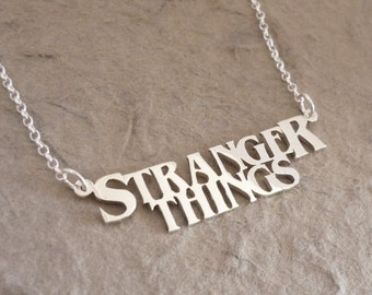 Stranger Things Name Necklace - based on the show logo - in sterling silver
