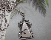 Navajo Sterling & Moss Agate Pendant Necklace on Sterling Chain