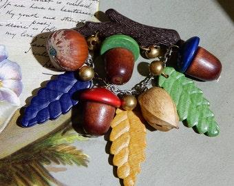 Vintage Colorful Wooden Czech Acorn & Leaf Dangle Brooch on Branch