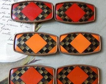 3 Vintage France Celluloid 2-Piece Belt Buckles