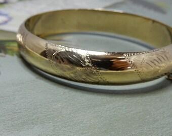 Sterling Silver Vermeil Hinged Bangle Bracelet    NCY34