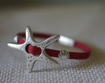 Starfish  and Seashell Leather Bracelet - Leather Jewelry - Beach Bracelet