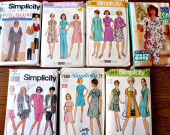 Plus Size Sewing Patterns Bundle  Bargain Patterns Lot A 1960's to 1990's