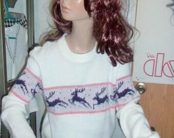 70s/80s Retro Reindeer Christmas Sweater XS