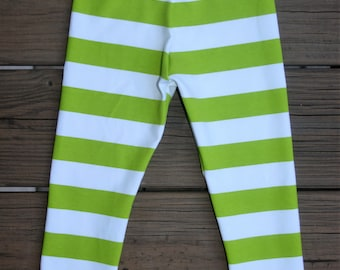 Lime  White Knit Leggings  Lime  Stripe Leggings  Baby Leggings Girls Leggings   Knit Leggings
