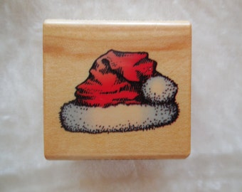Never Used, Vintage Comotion Rubber Stamp Santas Hat 822, 1995, Santa Rubber Stamp