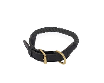 SALE Rope Dog Collar, Midnight