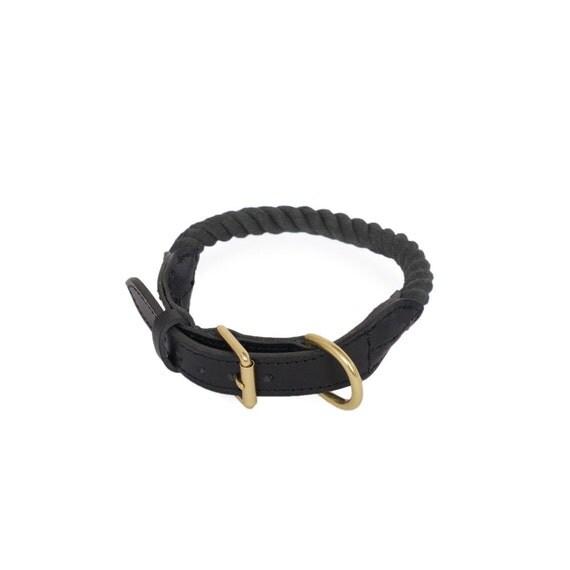 SALE Rope Dog Collar, Midnight