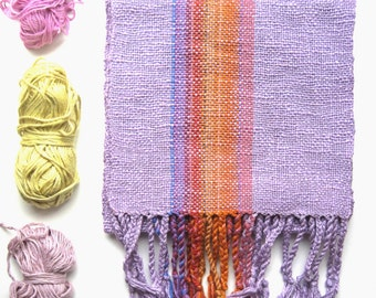 Lavender and Orange 'Lavender Canyon' Handwoven Scarf, size Large