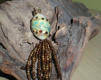 Handmade Lampwork Pendant In Ivory and Dichroic