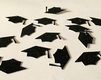 Confetti, 100 ct Glitter Graduation Cap Confetti Party Decor Table Decorations, MANY COLORS AVAILABLE
