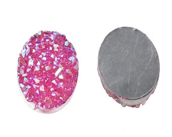 5 pcs Druzy Resin Embellishment Oval Cabochons Hot Pink Fuchsia - 18x13mm - 18mm x 13mm