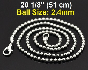 """12 pcs. Silver Plated Ball Chain Necklaces with Lobster Clasps - 51 cm (20 1/8"""")"""