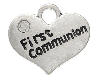 """1 or 2 or 4 or 10 pcs. Antique Silver """"First Communion"""" charm with rhinestone- 16mm X 14mm"""