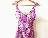 ON SALE Vintage, 60's, CATALINA Inc. ,Bathing Suit, Purple, Pink, and Tan, Floral Print, With Skirt, Size 14