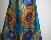 Turquoise Blue Circles Print African fabric per yard/ Wax print/ African Maxi Skirt Fabric/ Designer Wax Prints