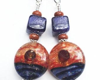 JBB Blue Moon Handmade Lampwork Bead Earrings