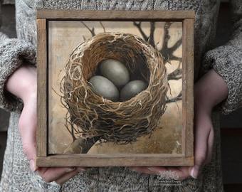 Bird Nest Art Print in optional Reclaimed Wood frame, Three Bird Nest Print, Bird Nest with Eggs, Square Wall Art Bird's Nest Print