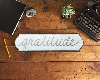 Gratitude Wood Wall Sign, Hand painted Wooden Plaque, Gratitude Wall Hanging, White and Gold, White and Black, White and Gray Wall Signs